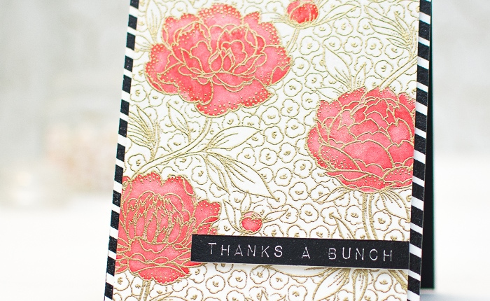 Catered Crop: Thank You Card with Gold-embossedBackground