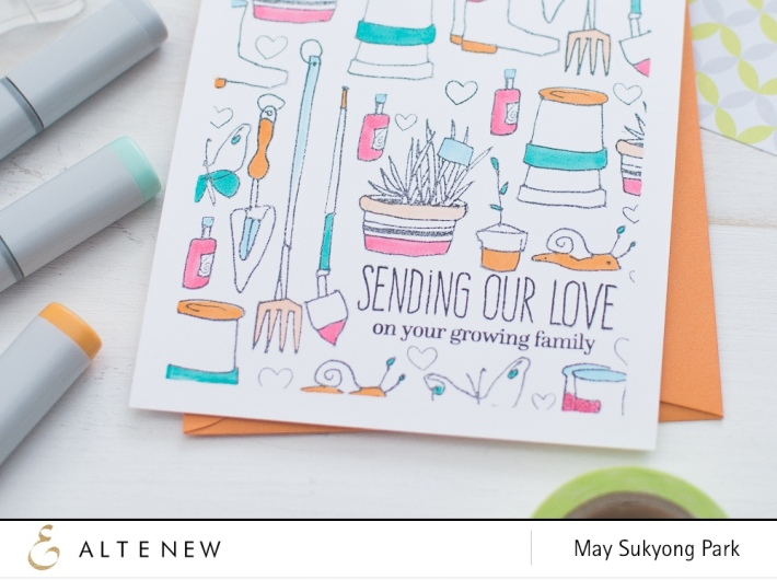 Altenew Garden Grow_Stamped Background with Partial Copic Coloring_May Park_5