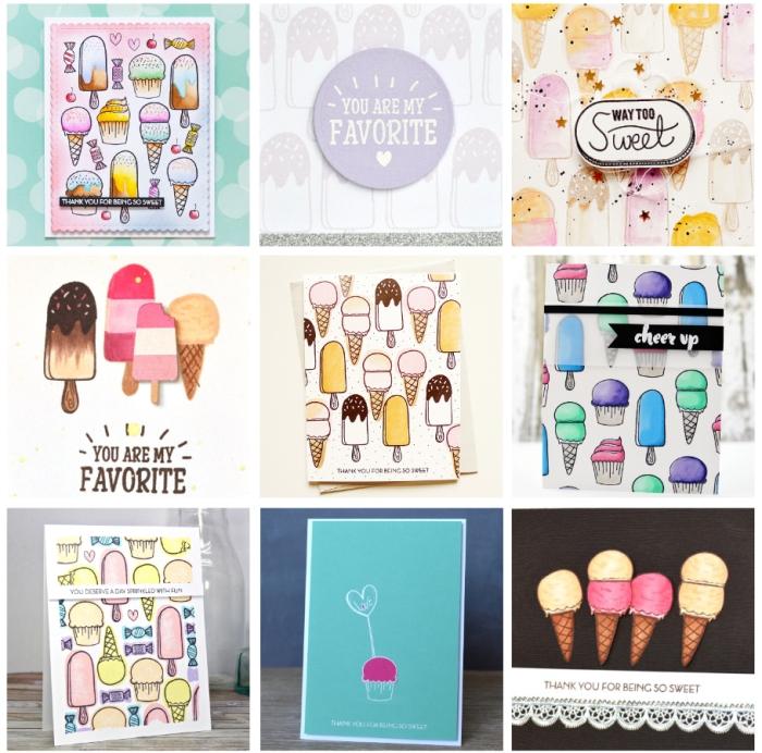 Icecream and cupcake cards sample ideas