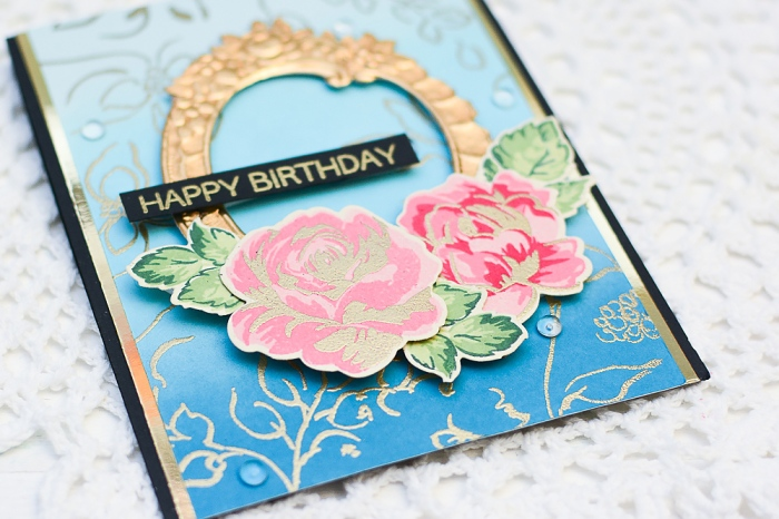Handmade Birthday Card using Gold Heat Embossing
