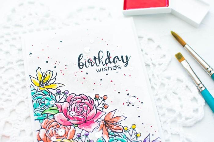Watercolor Handmade Birthday Card