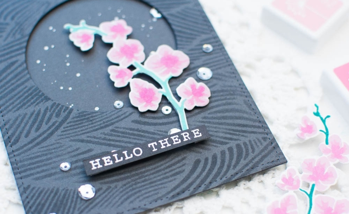 Hero Arts : Orchid Card with Tone-on-tone Stenciled Background